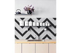 4″ Railroad Pattern Black White Matte Porcelain Geometric Tile